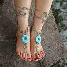 cheap 100% cotton crochet wedding sandals/beach anklets /crochet barefoot sandals/ankle bracelets/shoes ornament, UKAB020