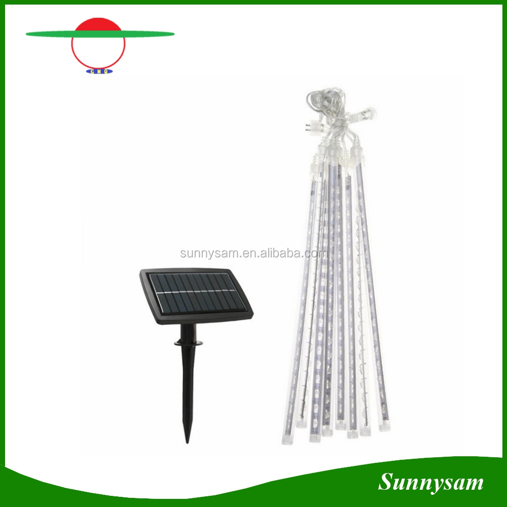 10pcs/Set 30cm Waterproof Solar Meteor Shower Rain Tubes LED Light Christmas Valentine Wedding Decoration Fairy String Lights