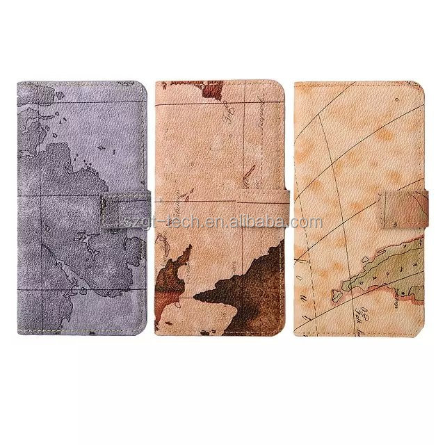 Grey map skin wallet leather case for iphone 6s, magnetic Flip PU pouch for iphone 6 case