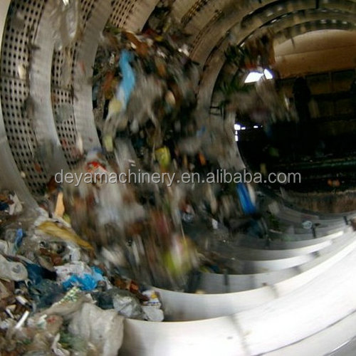 municipal solid waste trommel screen recycling plant sorting line