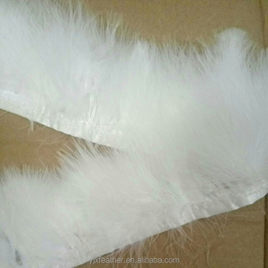 New Fashion hot sale dyed white leather turkey feather trimming decorative lace fringe trim