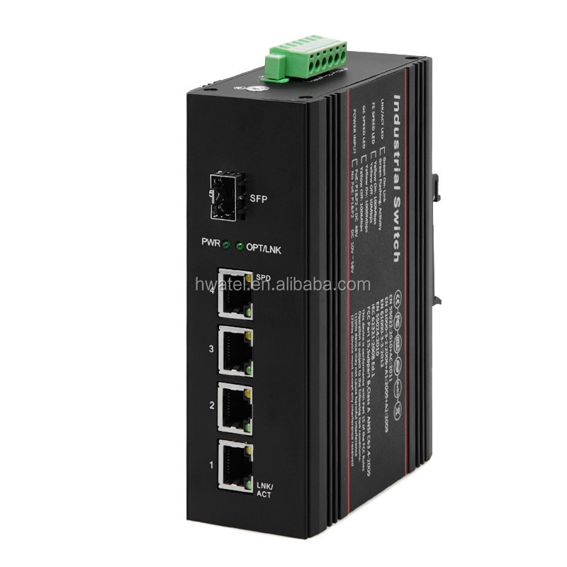 4 GE + 1 Port SC 40KM single core Fibre Optic DIN Rail Industrial ethernet network switch for ip camera hikvision mikrotik