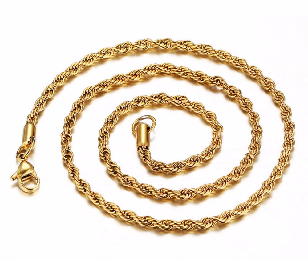 3mm diameter 18K gold plated Best Stainless Steel Mens Womens Necklace Twist Rope Chain LTC111