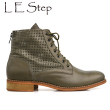 2017 autumn new style punched holes back zip genuine leather military lace up ankle boots women