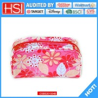 BSCI factory price famous brand pvc covered canvas cosmetic bag