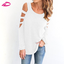 Cheap 2017 Ladies Loose Casual Long Sleeve Cotton Blouse Tops T-Shirt
