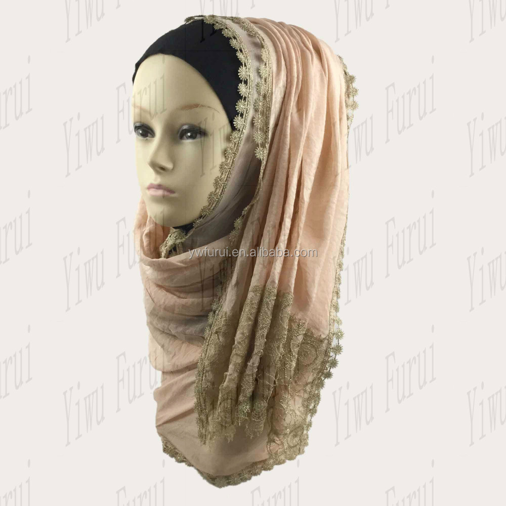 Fashion Graceful Wholesale New Style Lace Charming Shawl Wrap Viscose Shimmer Hijab Glitter Scarf