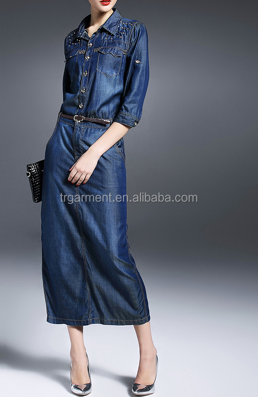 maxi dresses boho elegant long sleeve women denim dress patterns with waist belt