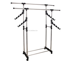 Hanging double pole stainless steel clothes drying rack with 4 hangers