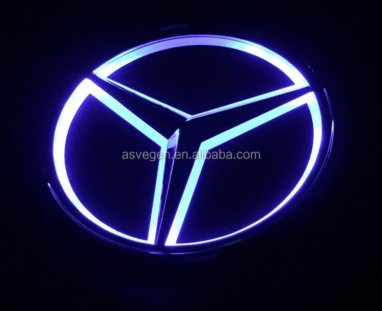 Car Front Grilled LED Illuminated Logo for Mercedes Benz. Center Front Badge Emblem Lamp, Mirror Surface