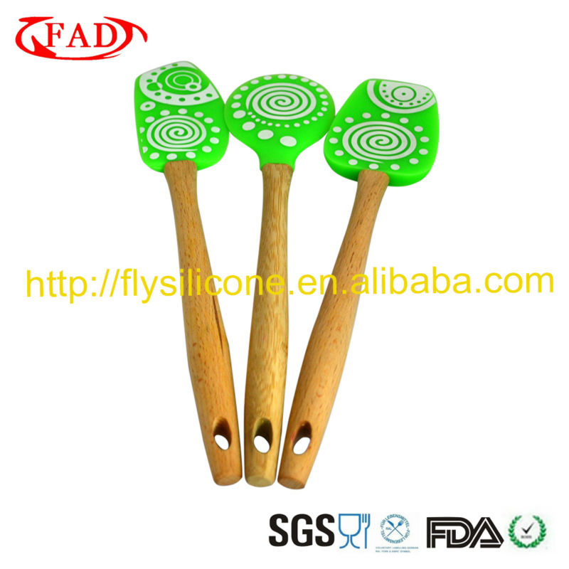 Green dancing shape silicone scraper spatula names of wooden shaping kitchen tools