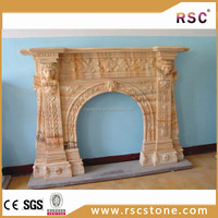 Cheap pillar carved marble fireplace mantel