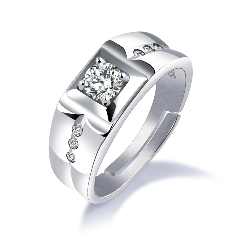 gb0617005 old school vintage diamond silver crystal engagement wedding ring for man