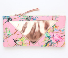 2017 beauty floral leather cosmetic pouch bag