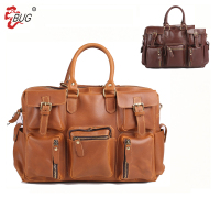Business Briefcase Handle Mens Genuine Leather