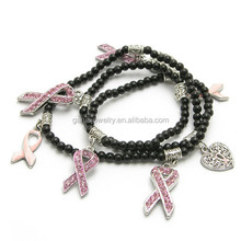 Newest Breast Cancer Awareness Black Beaded Pink Ribbon Charm Bracelets