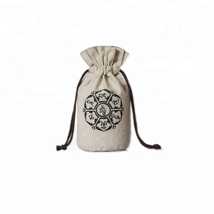 customized hot sale double pull drawstring linen bag round bottom bag rice wheat bag