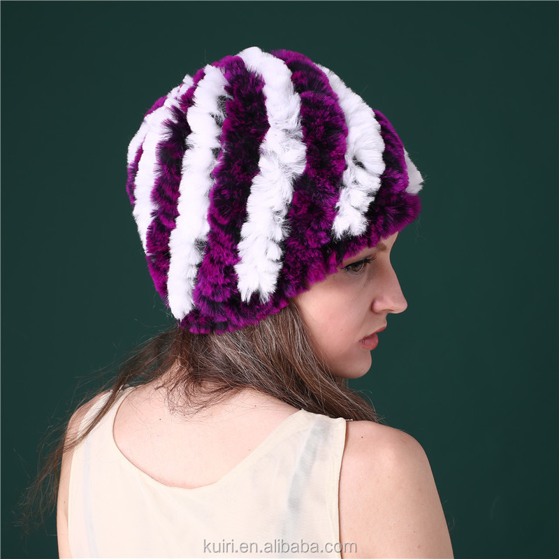 SALE price rex rabbit fur hats Fur Striped Knitted cap for women Genuine Rabbit Fur Hat Cap