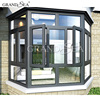 swing windows aluminium profile with water and heat insulation coated sand color window for UK