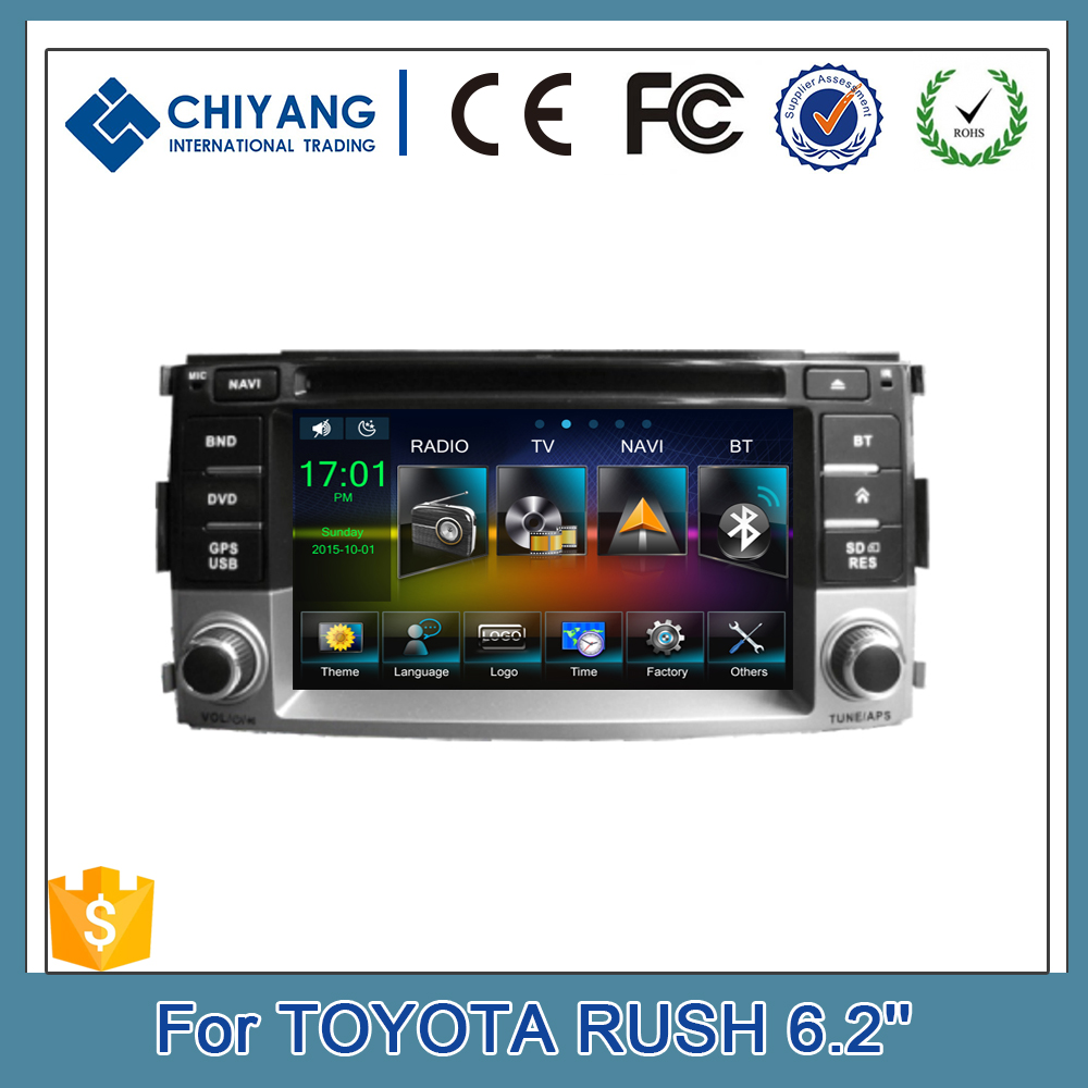 800*480 CPU 1GHz 6.2'' Car DVD Player GPS For Toyota Rush Double Din In Dash Stereo Multimedia Radio Audio Bluetooth TV System
