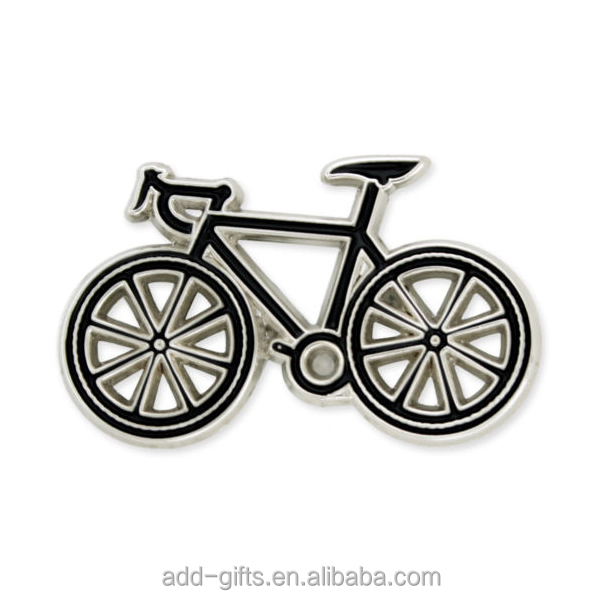 cutout bicycle lapel pin badge with hard enamel for decoration