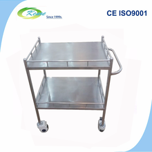 Stainless steel hospital surgical instrument medical trolley in hand cart & trolley
