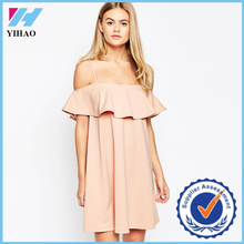 Trade Assurance Yihao Elegant Simple Summer Peplum Ruffle Short Dress Dresses Women 2015