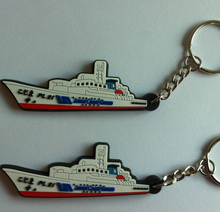 customized soft pvc ship keychain rubber ship key ring holder crafts japan coaster guard