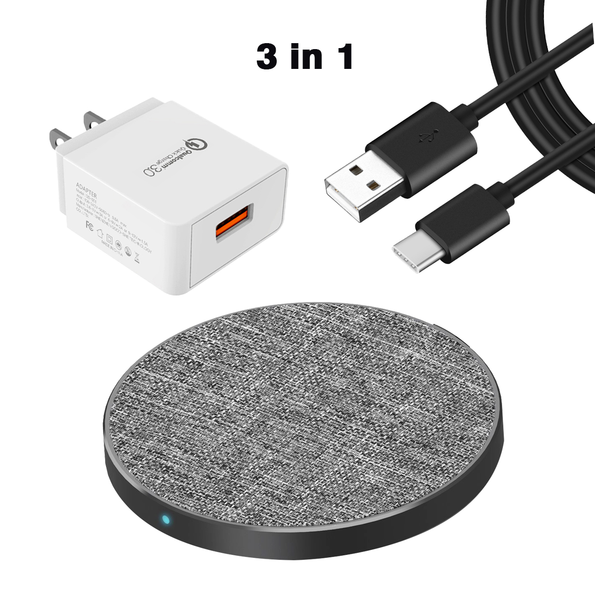 Feisman Fabric Wireless Charger Charging Pad, Qi Certified Fast Wireless Charger for iPhone X 8 Samsung Galaxy J5 J7 A8 S9 S8