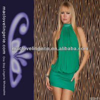 Green Sexy Transparent O-neck Bare Shoulder Fashion Clubwear Dresses
