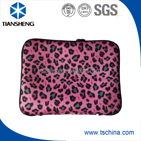 Pink leopard-spotted neoprene tablet case with dual puller zipper for iPad