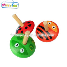 Wood material spinning top toys AT11732