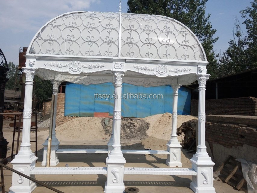 White Wrought iron gazebo