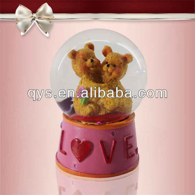 Polyresin doubble bears wedding snowglobe wholesale