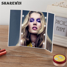 Touch Screen 3 Folding Cosmetic Mirror Adjustable Tabletop Countertop Luminous Mirror 8 LED Lighted Makeup Mirror