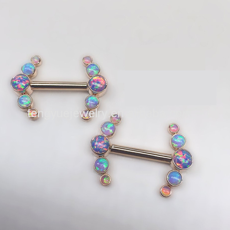 316L Gold planted cluster barbells sexy vibrating nipple piercing jewelry with combined opal