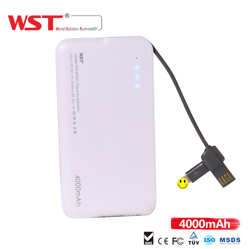 Slim Power bank Popular design portable charger 4000mah Built in for Micro Cable