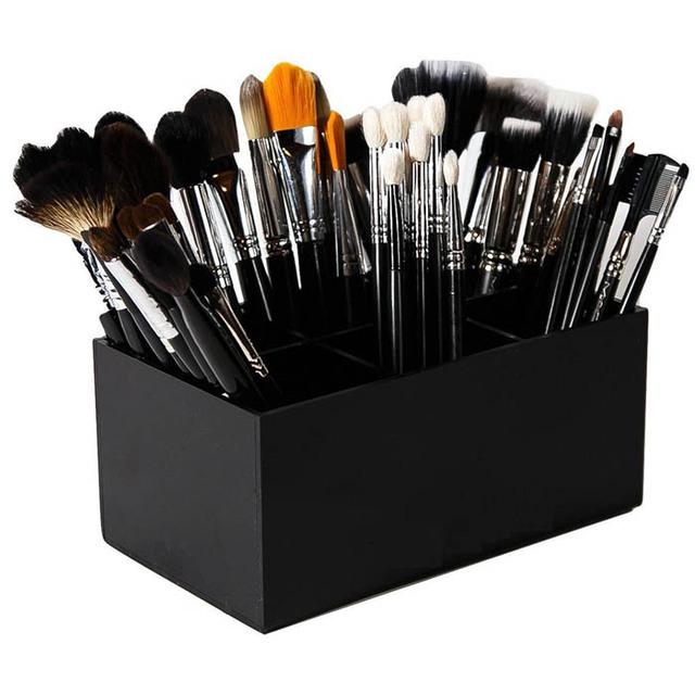 Custom acrylic cosmetic Display Stand black plastic Makeup Brush Holder lipstick organization display