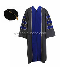 Unisex Deluxe Doctoral Graduation Gown With Gold Piping and Black Doctoral Tam doctor dress