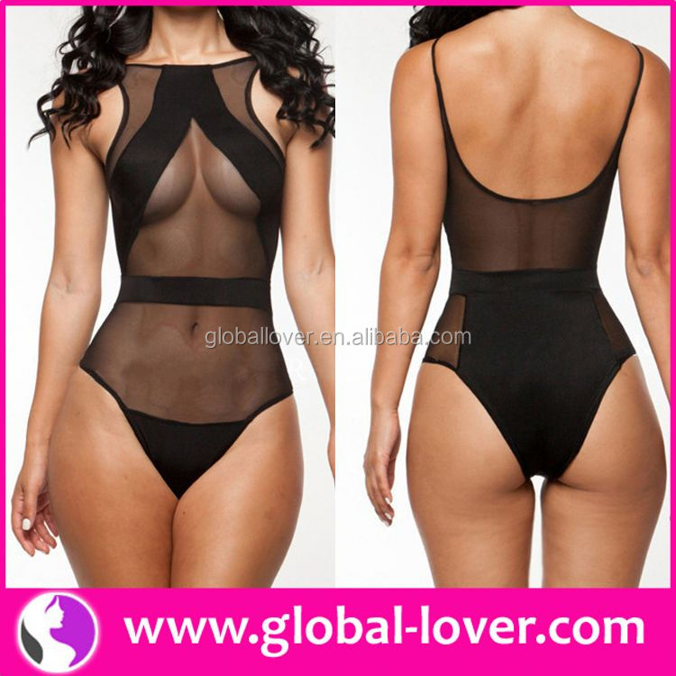 2015 best quality one piece transparent bathing suit