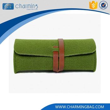 Top grade attractive style green button packaging glasses felt bag