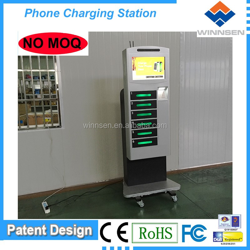 Factory price 6 digital lockers free standing with 19 inch touch screen coin operated cell phone charging box APC-06B