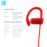fashional LED style one ear phone bluetooth headphones with microphone for mobile cell-RU9