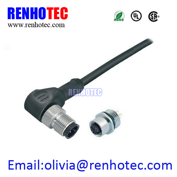 right angle molded cable connector M12 4 pin welding plug