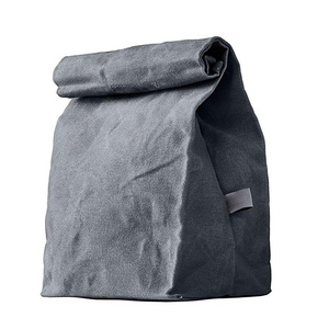 Customize brown grey sky blue color waxed canvas lunch bag with aluminium foil