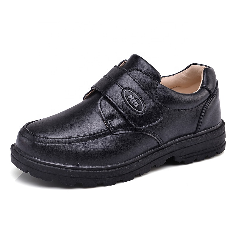 New Arrival china factory Customized Different Size black flat platform boy student cow Leather school Shoes