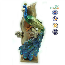 Home living resin peacock decorative table flower vase