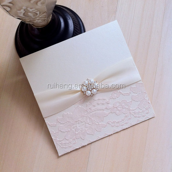 pearl brooch lace pocket square invitation with gold glitter paper wedding invitation cards