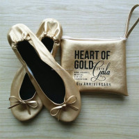 PU Leather Golden Fold Away Shoes With Bag Gift For Wedding Guest