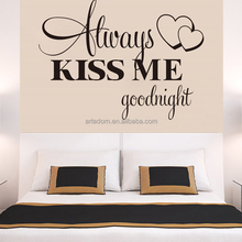 Always Kiss Me Good Night Quotes Wall Arts Decoration Black Heart Stickers